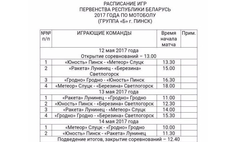 Расписание игр первого круга группы «Б»