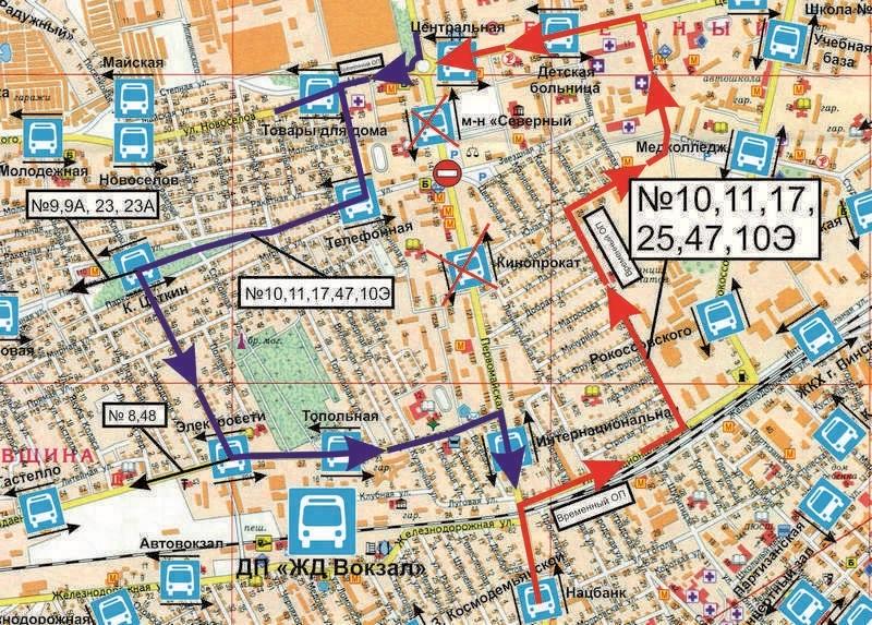 Временная схема движения автобусов