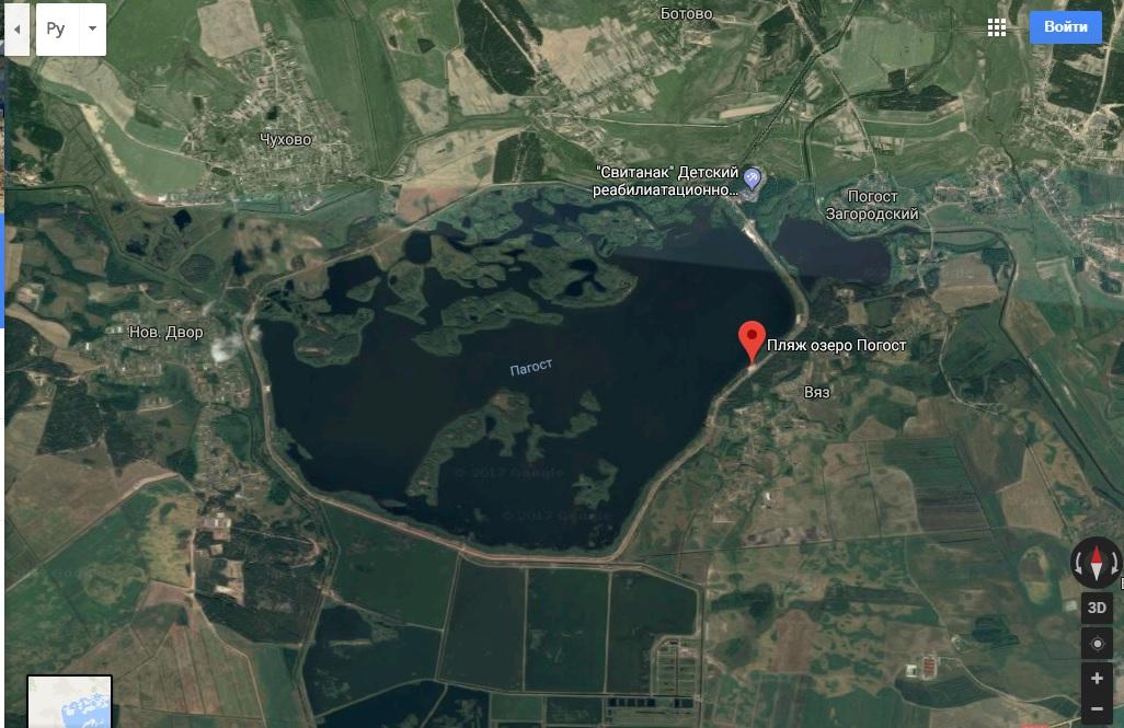 Использована гугл-карта Длина Погостского водохранилища составляет 6,1 км, ширина 4, 1 км, глубина 9,9 м, площадь 16,2 Якорь км2