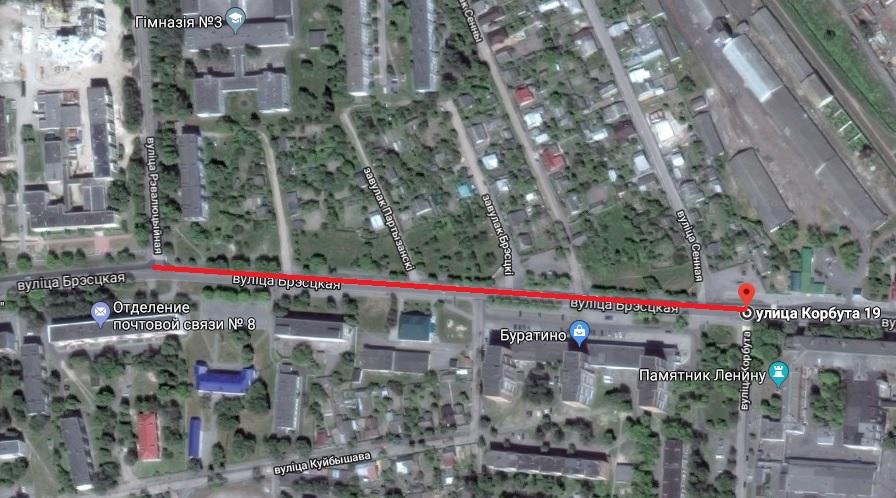 Этот участок улицы Брестской будет перекрыт. Использованы гугл-карты
