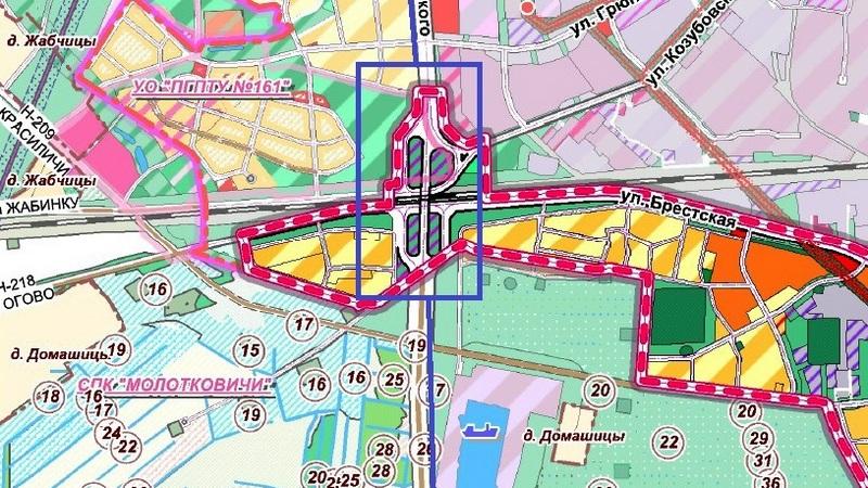В синем прямоугольнике планируемая развязка над железной дорогой по улице Достоевского. Фото с сайта Пинского ГИК