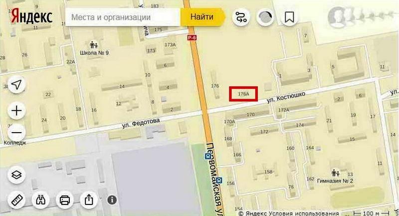 Нумерация несколько путаная – фактически строение находится на улице Костюшко. Использованы Яндекс карты.