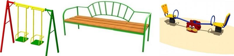 Качели и скамейки для площадок Пинского района. Фото с сайта goszakupki.by