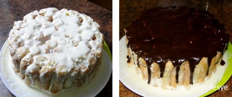 Если сметанного крема достаточно, то можно верх торта покрыть им. Когда тот достаточно охладится, украсить его какао-порошком и шоколадными цветами. Я же решила верх торта покрыть шоколадом