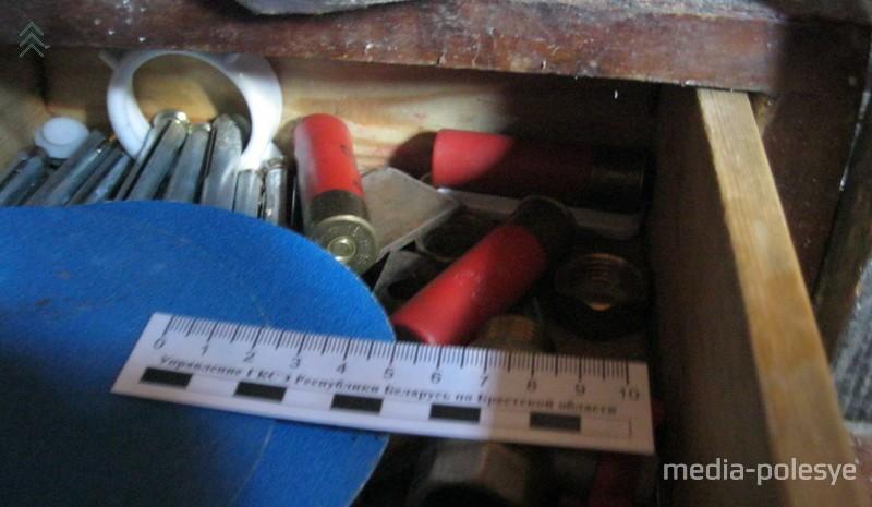 Патроны, найденные во время осмотра жилища. Фото по тексту Пинского погранотряда