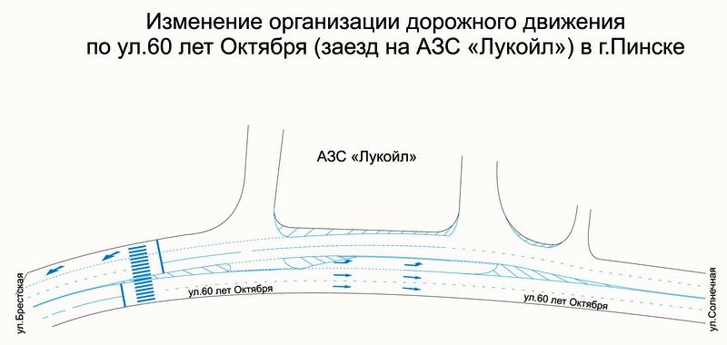 Изменения дорожной разметки. Схема УГАИ Брестской области