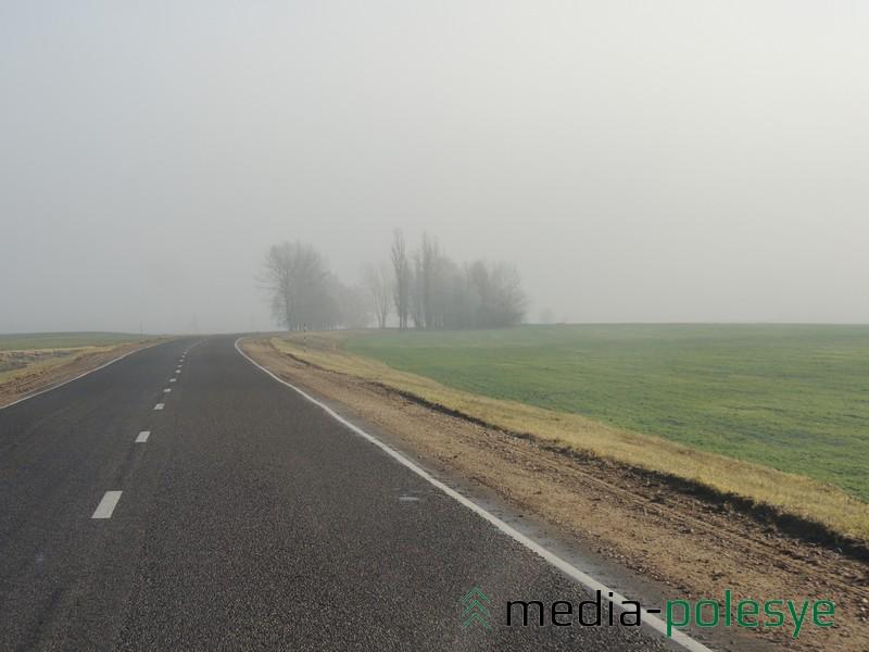 Туман на участке дороги Пинск-Столин