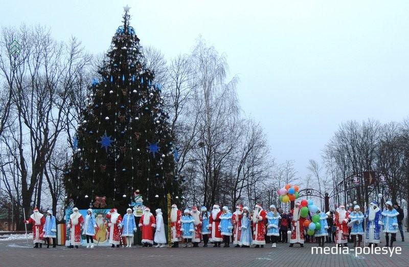 Шествие Дедов Морозов и Снегурочек закончилось у новогодней ели