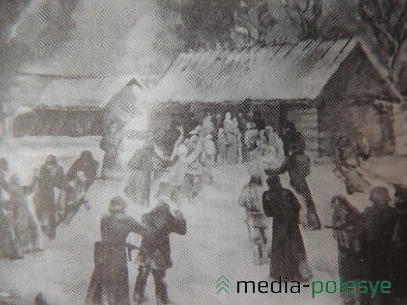 Расправа оккупантов над мирными жителями. Картина из музея Воронёвской СШ