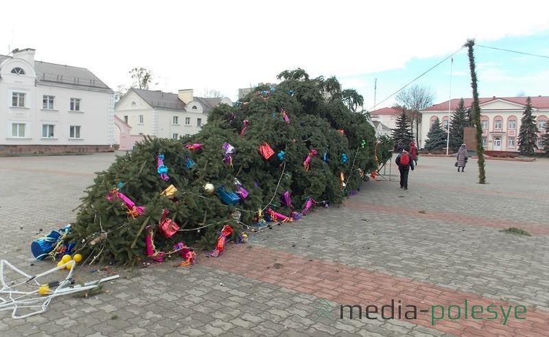 После рухнувшей новогодней красавицы в Лунинце на праздники решили устанавливать искусственную ель. Та пока не падала. Фото из архива Медиа-Полесья