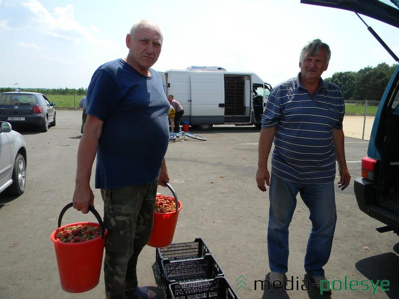 Лунинчанин выращивает своё «красное золото» в д.Вичин. Мужчине хотелось бы продать товар подороже, но цены нет. Урожай слабый. «Не наполиваешься ведь постоянно», - говорит мужчина.