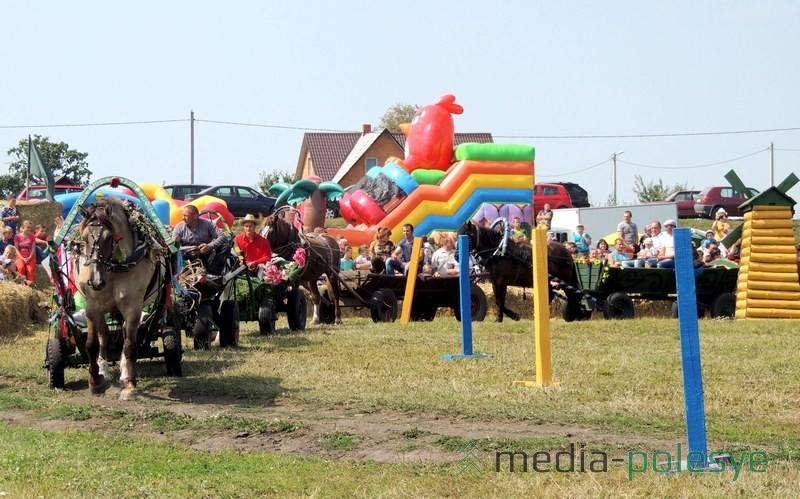Участники перед началом соревнований конных упряжек