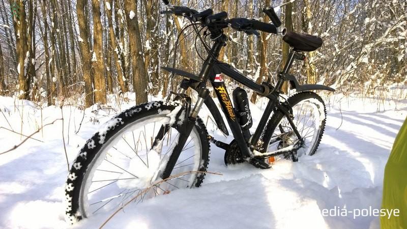 Когда много снега, Жене приходится нести велосипед в руках