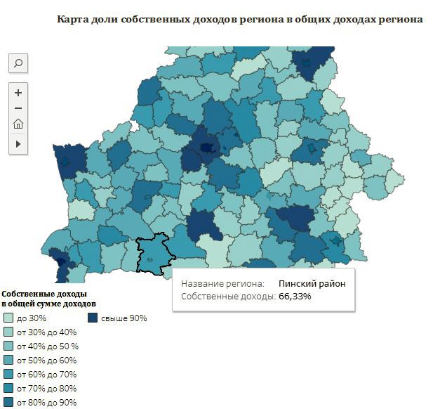 Собственные доходы Пинского района в 2017 году