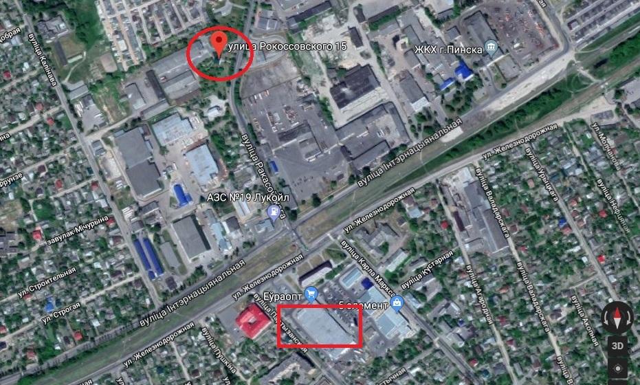 Новый магазин будет находиться недалеко от действующего «Евроопта» (использована гугл-карта) (окружностью обозначено место нахождения нового дискаунтера, прямоугольником Евроопт)