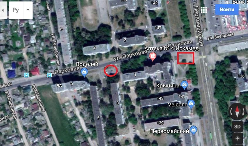 Окружностью обозначено сегодняшнее место разрыва, прямоугольником прошлогоднее место аварии на коллекторе