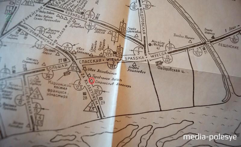 План Пинска середины XVI века, сделанный Александром Лозицким. Место, где проживал аптекарь Станислав обведено красным кружком