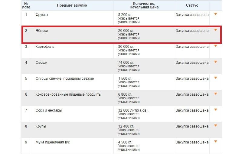 Таблица закупок продуктов в пинские дошкольные учреждения в июле 2018 года, предельные цены не указаны. Скриншот с сайта  goszakupki.by