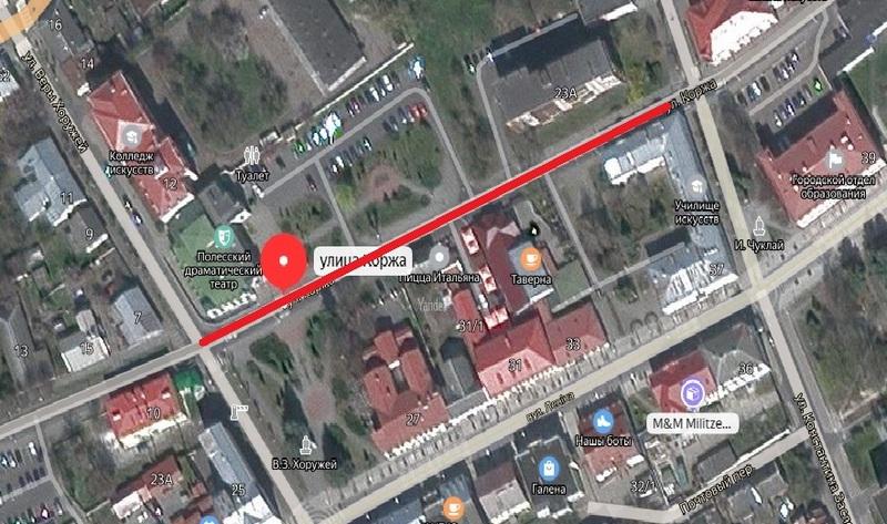 Участок улицы Коржа будет временно закрыт для движения. Использована гугл-карта