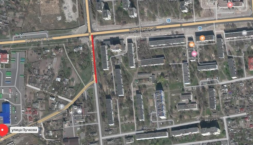 Участок улицы будет временно закрыт для движения. Использована Яндекс-карта