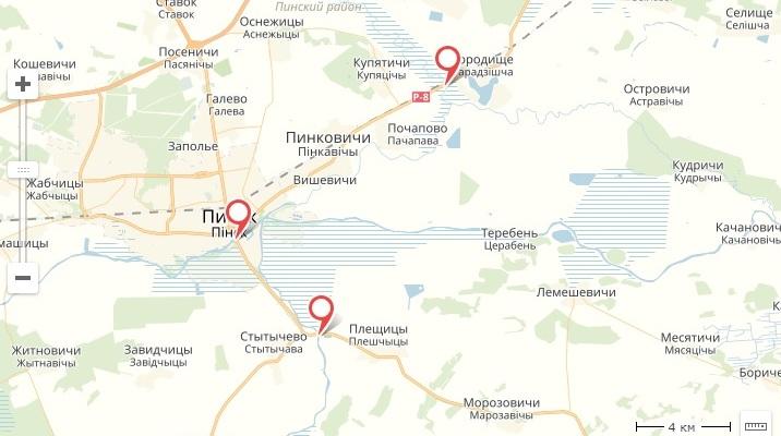 Эти мосты необходимо отремонтировать в Пинском районе. Скриншот яндекс-карты с портала tut.by