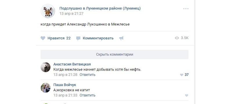 Скриншот обсуждения темы в одной из местных групп во «ВКонтакте»