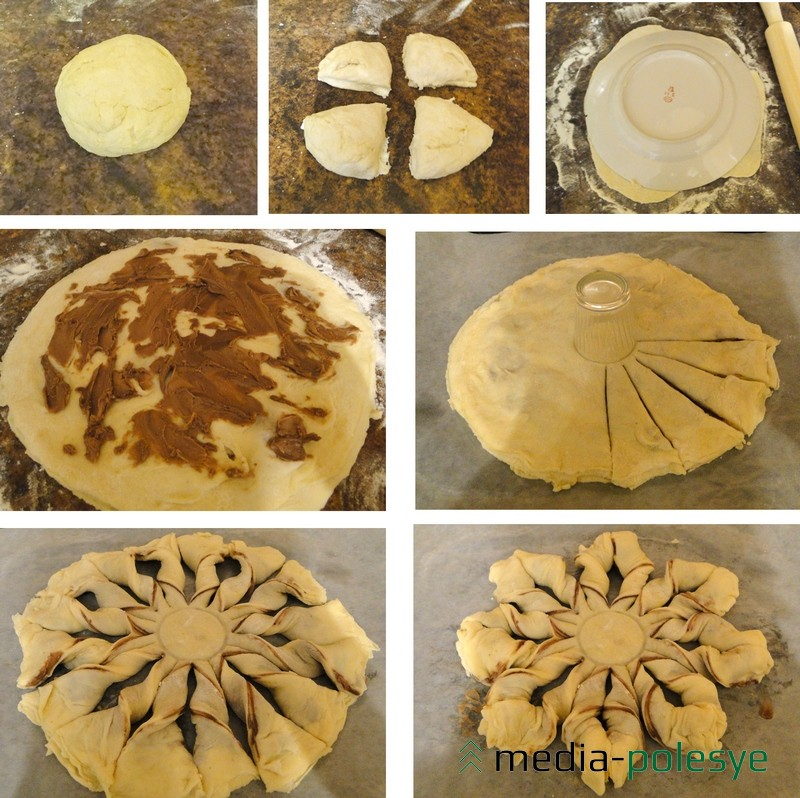 Процесс создания пирога-«цветка»
