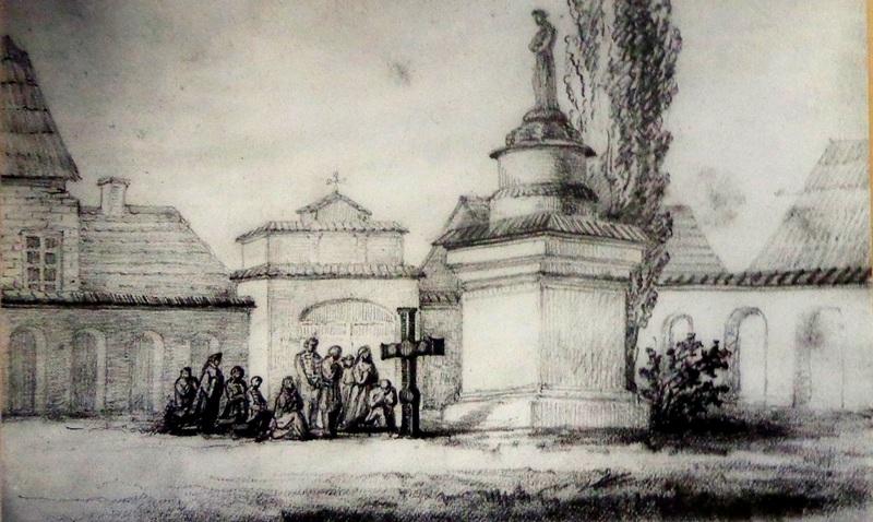 Пинск. Крест, установленный пинской молодёжью в память о погибших соотечественниках от рук российских солдат в Варшаве, 1861 год. Работа Хелены Скирмунт