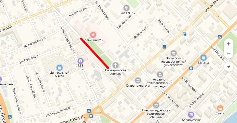 Красным выделена часть улицы, которую перекроют. Использован сервис Яндекс-карта
