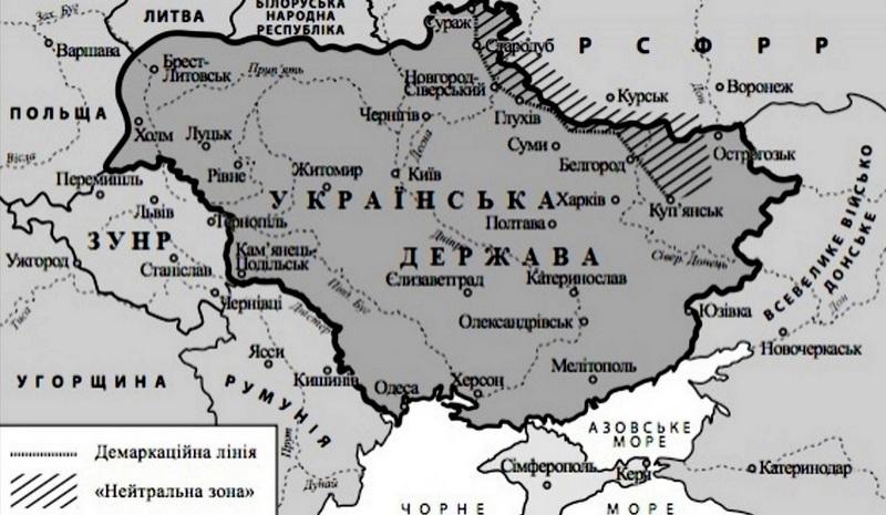 Территория УНР на весну 1918-зиму 1919 годов
