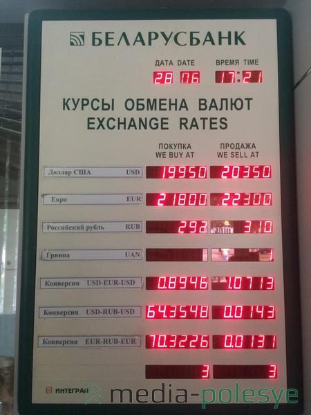 Курсы обмена валют 28 июня в «Беларусбанке». Доллар на 50 рублей дешевле, чем днём ранее