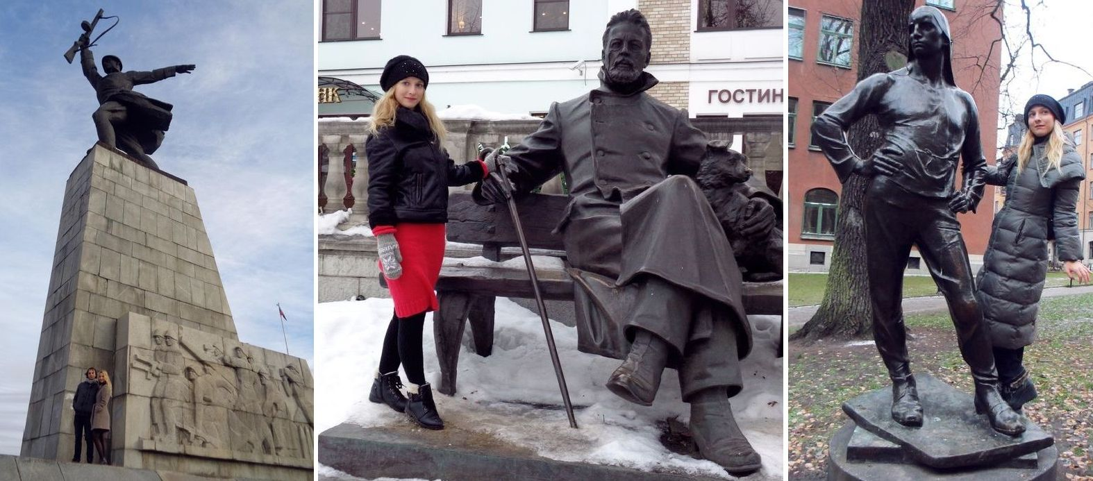 У монумента «Героям битвы под Москвой» в России, памятника Чехову в Звенигороде и скульптуры портового рабочего в Стокгольме. А еще много скульптур по всей России, из Венгрии, Испании, Финляндии и так далее. Фото предоставлено TUT.BY героиней материала Ириной Н.