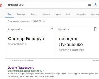 Гугл-переводчик переводит словосочетание «Спадар Беларус» как «господин Лукашенко»