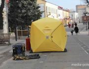 Необычные палатки установили на пинской пешеходке