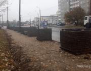 «Евроопт» строит парковку через дорогу от магазина