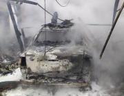 На День города под Пинском сгорел «Фольксваген Пассат В5»