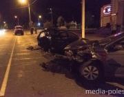 Ночное ДТП в Лунинце на Красной: повреждено три автомобиля