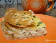 Быстрый пирог из лаваша, творога и сыра