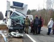 Лобовое столкновение грузовика и микроавтобуса