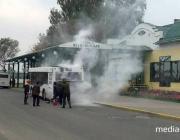 Фотофакт. На Лунинецкой автостанции тушили рейсовый автобус