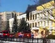 В Пинске горело здание реконструируемой поликлиники