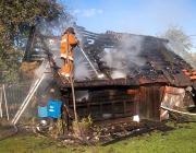В Ольшанах сгорела частная баня