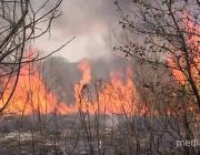 В Пинском районе вторые сутки тушат пожар
