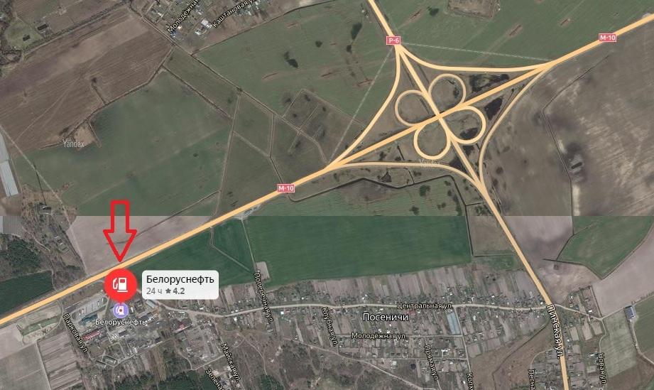 Использованы карты Яндекс Место, где в Пинском районе могут останавливаться транзитные автопоезда