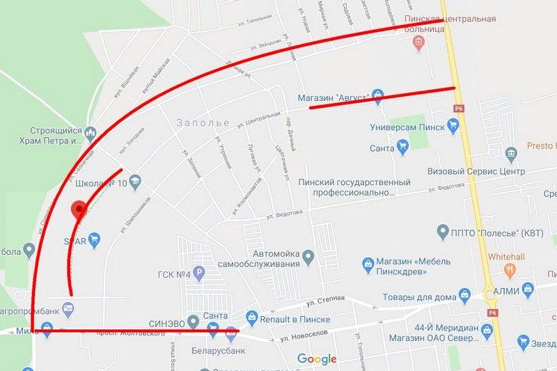 Красным выделены улицы, на которых будут проводить дезинфекцию. Скриншот Google-карты