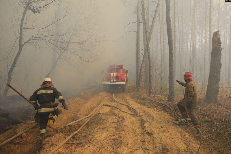 Пожар в чернобыльской зоне отчуждения, 10 апреля 2020 года. Фото EPA-EFE