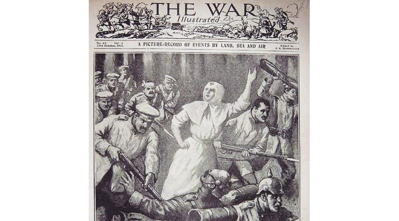 """В 1915 году британский журнал """"TheWarIllustrated"""" в октябрьском выпуске опубликовал визуализацию подвига Риммы Ивановой в местечке Мокрая Дубрава Пинского района 9 сентября 1915 года"""