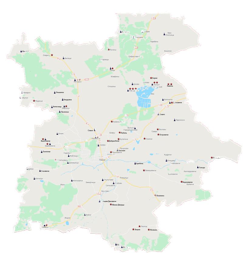 Карта воинских захоронений с сайта pinsk-region.by