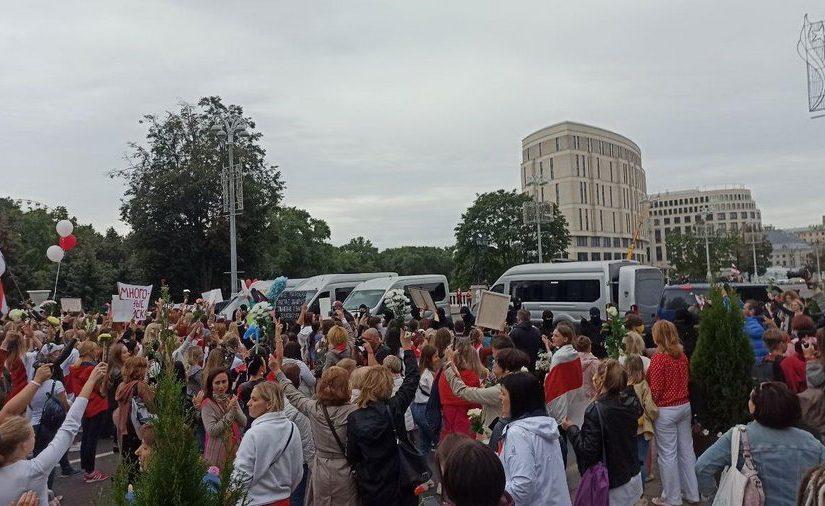 Женский марш солидарности в Минске, 29 августа 2020 года. Фото: @motolkohelp