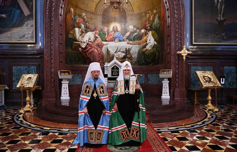 Патриарх Московский Кирилл (справа) и Патриарший Экзарх Беларуси Вениамин / Фото Vitprav.by
